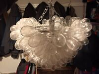 Large recycled glass pendant light
