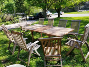 2 TEAK PATIO SETS, 10 Chairs, 2 tables