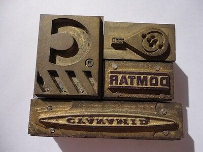 Lot 4 Old Letterpress Solid Metal Printing Blocks - Company Logos Dotmar C Etc