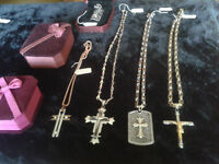 BRAND NEW Stainless Steel cross & skull necklaces