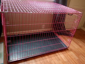 Large pink dog crate with tray and divider