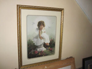 Gold Framed Art Print--Joyce Birkenstock--Child Angel Doves Girl
