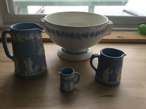 Antique Wedgewood pitchers and bowl