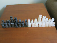 Vintage Handcarved Mexican Aztec Onyx Chess Pieces