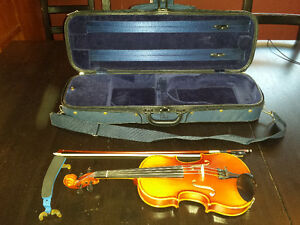 1/4 Size Violin Made by Geo. Heinl - with Bow and Hard Case
