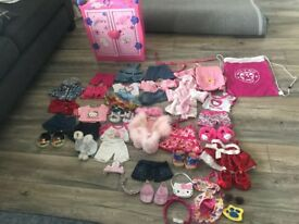 Build a bear wardrobe, clothes accesories and bed