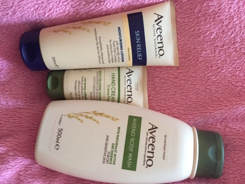 Aveeno hand cream, body cream and bath lotion