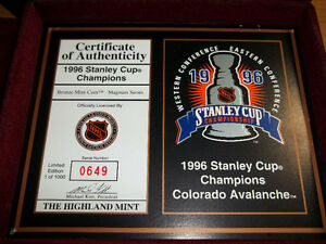 COLORADO AVALANCHE 1996 STANLEY CUP CHAMPIONS MINT BRONZE