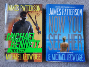 2 books by James Patterson: Tick Tock -&- Now You See Her.