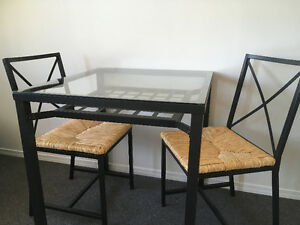 small square glass table, 2 chairs