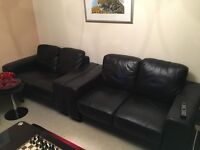 2 x Two Seater Leather Couches