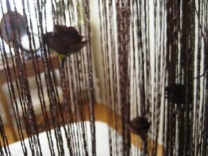 Window Brown&Silver Curtain Panel Strip With Roses Flowers