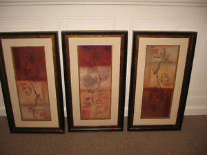 "3 Framed Picture Set  EACH ONE 14.5 "" wide by 26.5 "" tall"