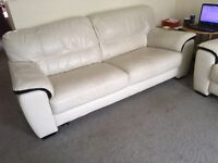 Cream Leather Suite 3 seater and 2 seater Sofas