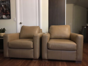2 Genuine Leather Accent Chairs