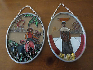 Set of 2 decorative handpainted glass wall hanging accents NEW