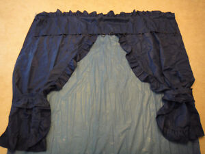 Navy Blue Plastic Shower Curtain with Cotton Decorative Curtain Kitchener / Waterloo Kitchener Area image 1