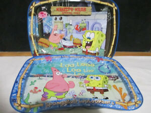 2 SpongeBob TV tin trays
