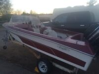 1960's vintage boat 50hp outboard and trailer!