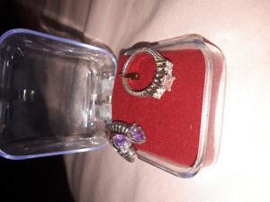 Rose quartz and amethyst silver rings! ($60 each)