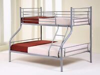 NEW ALEXA TRIPLE SLEEPER BUNK TOP SINGLE BOTTOM DOUBLE AVAILABLE IN WHITE/SILVER