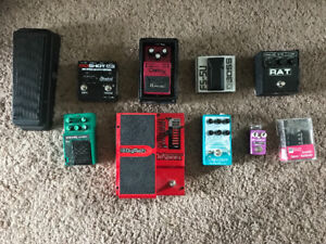 Guitar pedals galore and a sweet guitar pickup