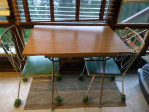 Metal table with chairs