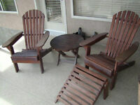 2 solid wood Adirondack folding chairs, footstool and side table