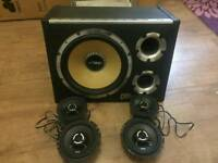 "Vibe cbr twin port 12"" subwoofer +vibe slick car speakers"