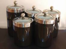 MAXWELL WILLIAMS SET OF FIVE BLACK CANNISTERS WITH GLASS LID Bell Post Hill Geelong City Preview