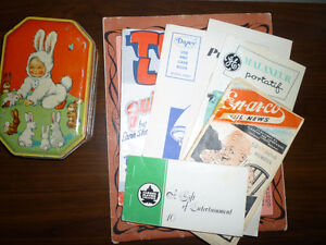 Vintage booklets and Bunny tin