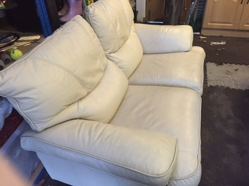 Real Leather 2 Seater Recliner Sofa Left Handle Broken