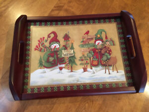 NEW WINTER SCENE WOOD TRAY with HANDLES (Seagull Studios)