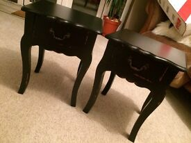 New Pair of Black Shabby Chic Bedside Tables Drawers Antique Baroque Style
