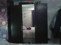 Ikea pax double and single wardrobe black brown & malm 6 draws