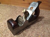 Spiers dovetailed smoothing plane. Rosewood infill. Vintage woodwork tool