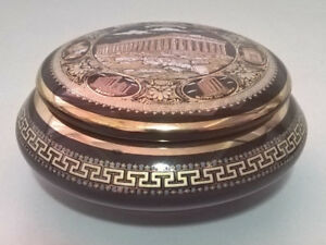 Vintage Hand Painted Porcelain Greece 24K Gold Trim Trinket Box