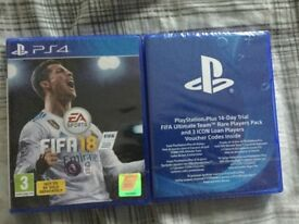FIFA 18 with ps plus 14 day trial and ultimate team rare players pack