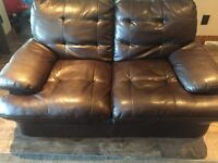 Bonded leather loveseat and oversize chair