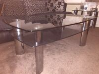 Glass coffee table, TV stand & side table