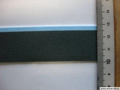 5m Gummiband 0,60€/m  Bündchengummi  3 cm breit  grau/hellblau MC33