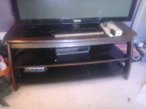 MUST GO ASAP!Solid mahogany and glass tv stand great shape