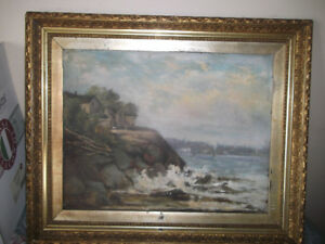 BAY SHORE ST JOHN WEST NB SEA SCAPE OIL PAINTING 1910 PERIOD