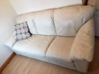 CREAM LEATHER 3 AND 2 SOFAS