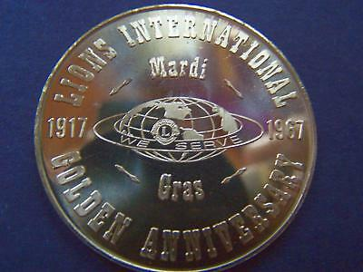 1967 LIONS INTERNATIONAL 50TH ANNIVERSARY Bronze Mardi Gras Doubloon