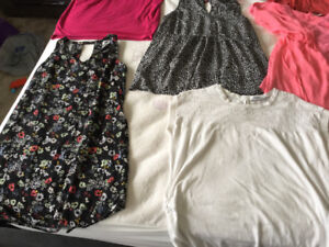 7 maternity tops, one dress and free diaper bag f