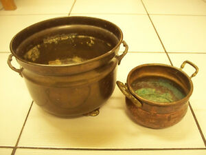Vintage 2pc Copper/Brass Hand Hammered Pots Circa Early 1900s