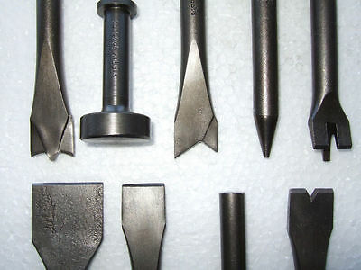 9 Piece Air Hammer Punch and Chisel Set .401 Shank NEW!