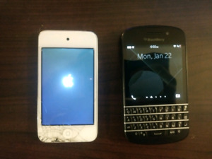 Blackberry Q10 and Ipod 4th gen