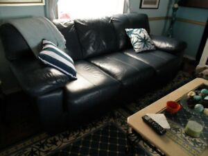 Genuine Leather Navy Blue Couch
